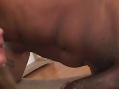 Black hottie feels chubby rod of swarthy thug in face hole and twat